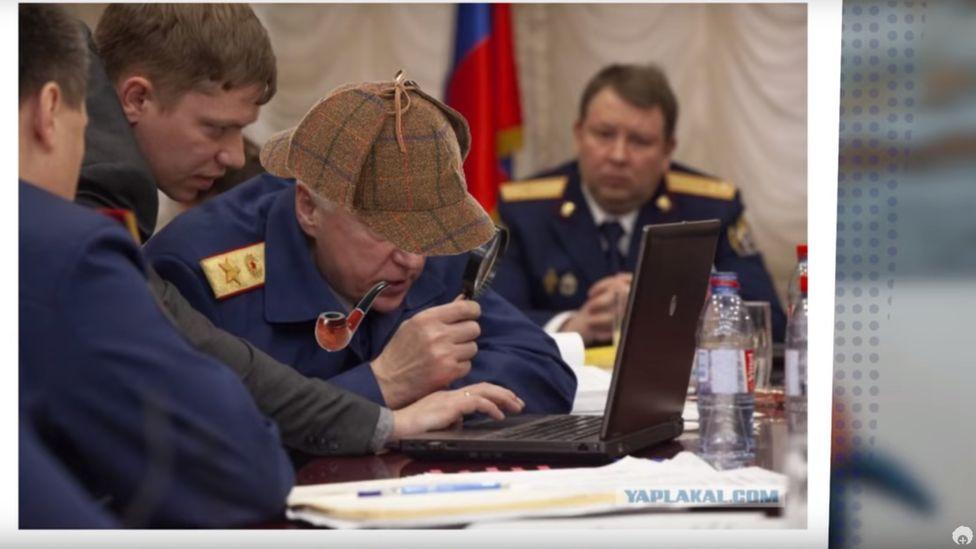 Photoshopped deerstalker on Russian Investigative Committee chief Alexander Bastrykin, March 2019