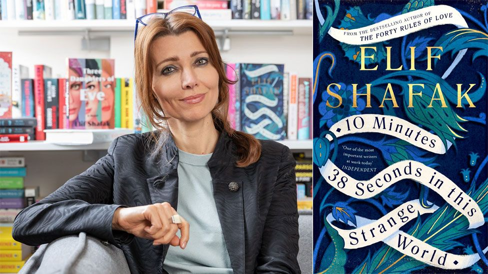 Elif Shafak and the book jacket for 10 Minutes 38 Seconds in This Strange World
