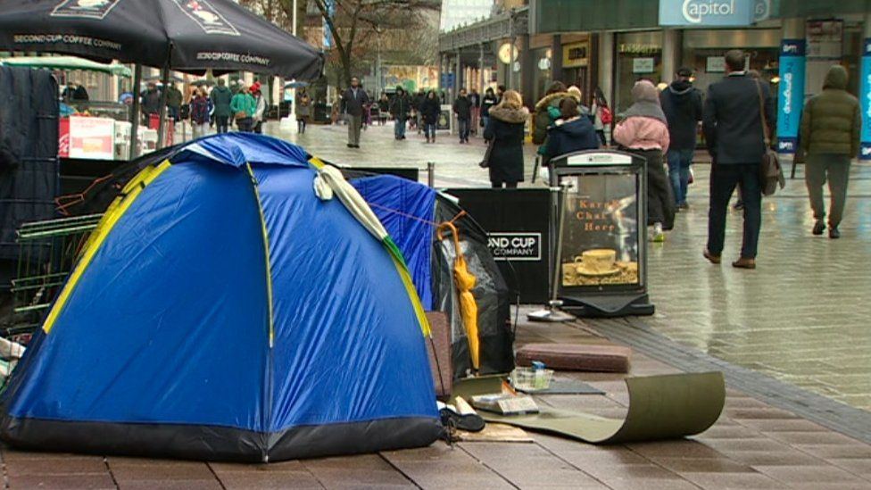 Tents on a Cardiff street