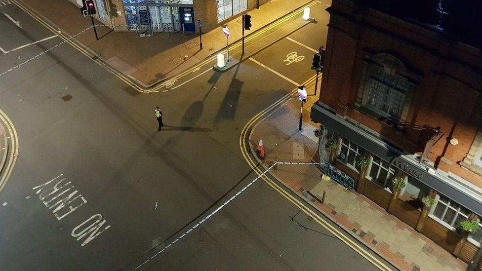 A police cordon in Hurst Street, Birmingham