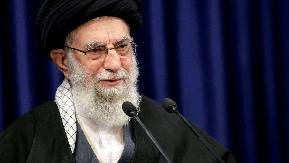 Iranian Supreme Leader Ayatollah Ali Khamenei delivers a speech in Tehran, Iran (8 January 2021)