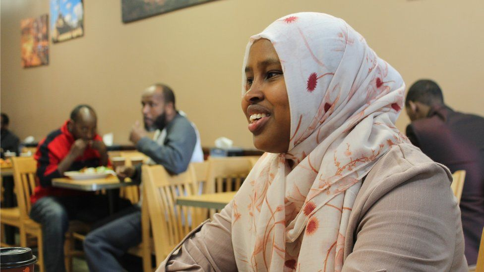 Hamida Dakane the day before the exchange, having dinner at a popular West African eatery in Fargo