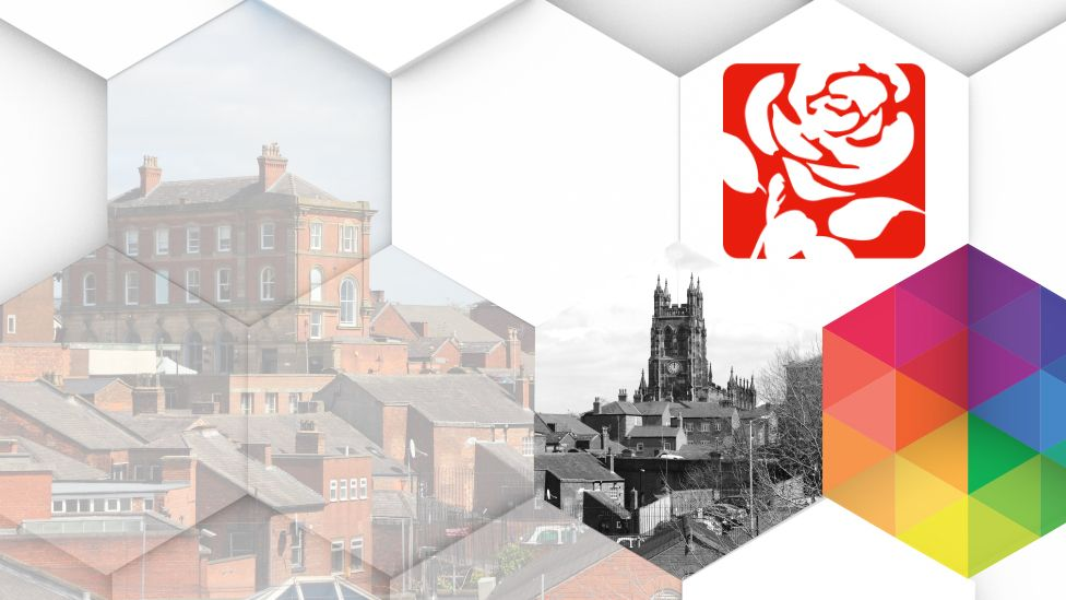 Labour logo and Stockport skyline