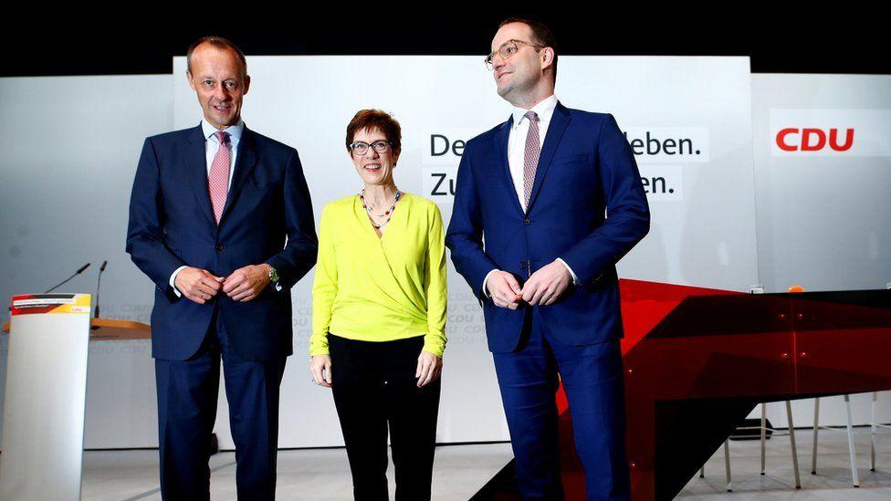 Christian Democratic Union (CDU) candidates for the party chair Friedrich Merz, Annegret Kramp-Karrenbauer and Jens Spahn