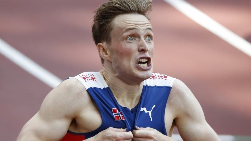 Karsten Warholm of Norway reacts after setting a new world record in the 400m at Tokyo 2020