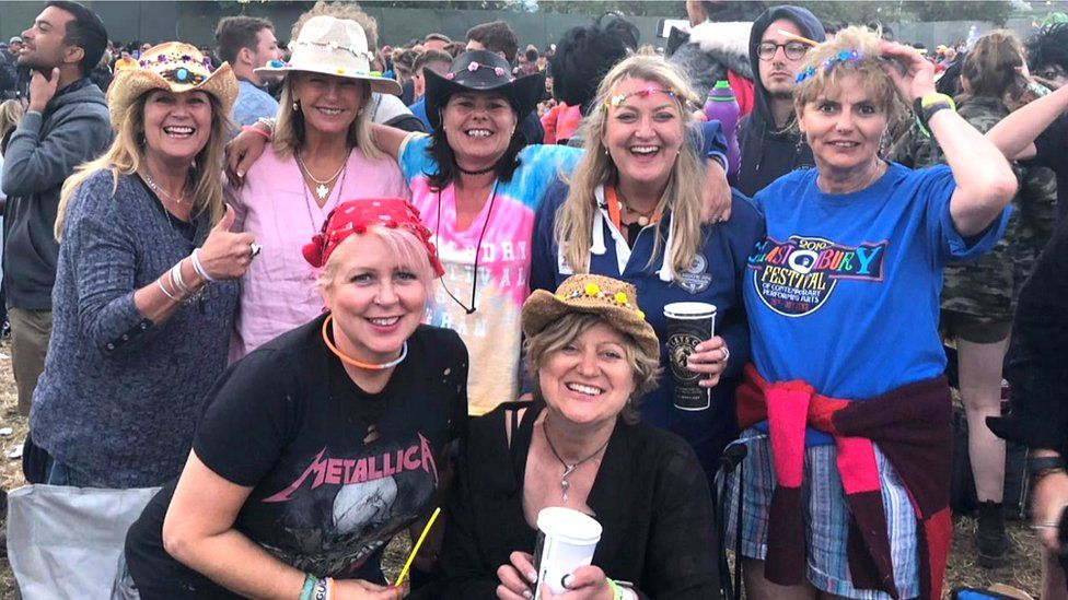Cor with friends at Glastonbury
