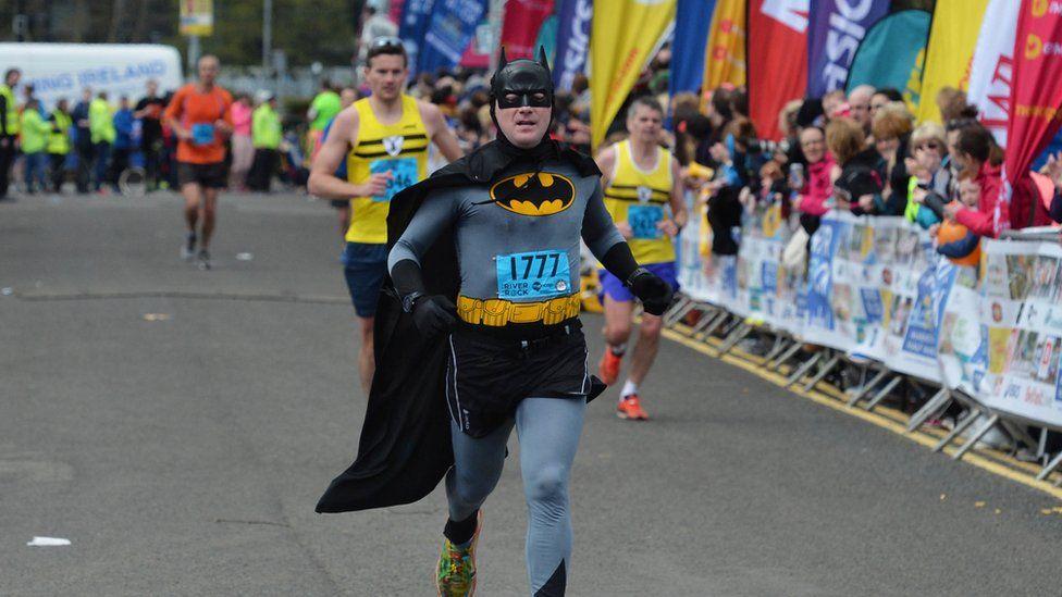 Batman runs in the Belfast City Marathon