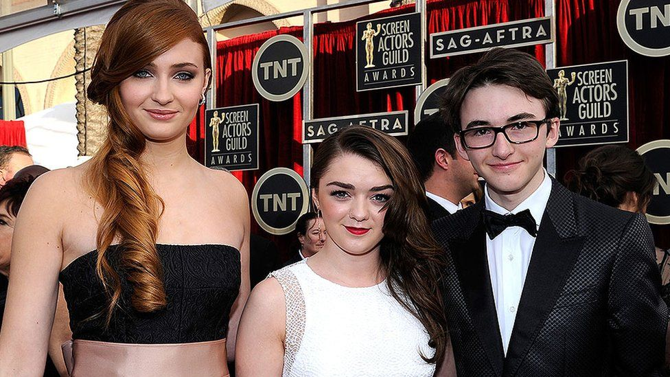 Sophie Turner, Maisie Williams and Isaac Hempstead Wright