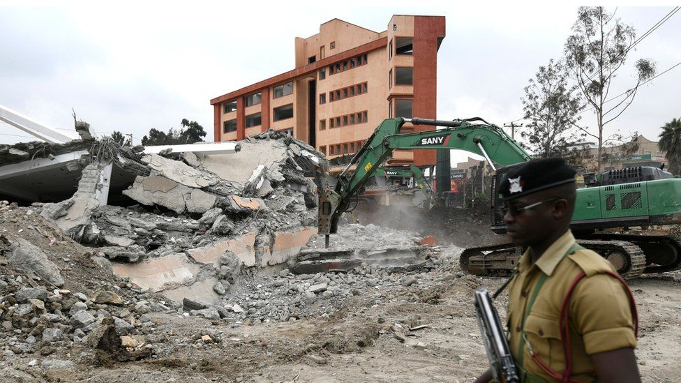 A building on a riparian reserve is demolished in Nairobi