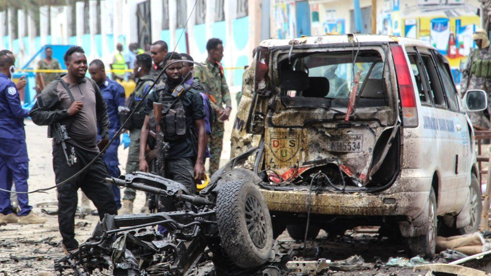 Aftermath of the bombing in Mogadishu