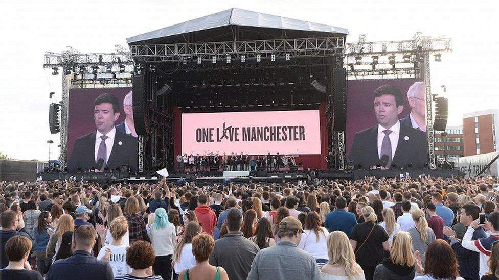 Andy Burnham at One Love Manchester concert