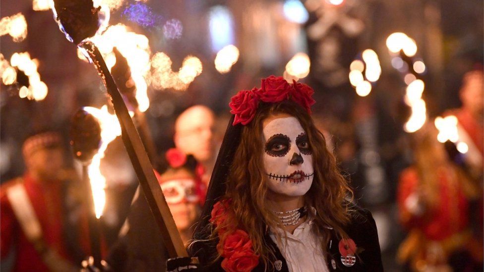 Girl in Lewes bonfire parade