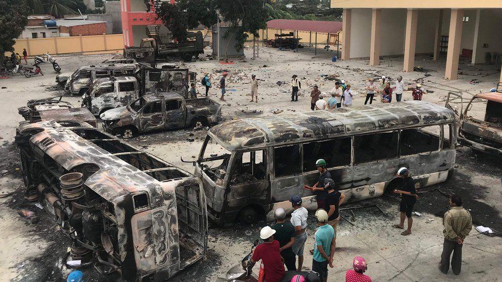 Burnt buses in central Binh Thuan province, Vietnam June 2018