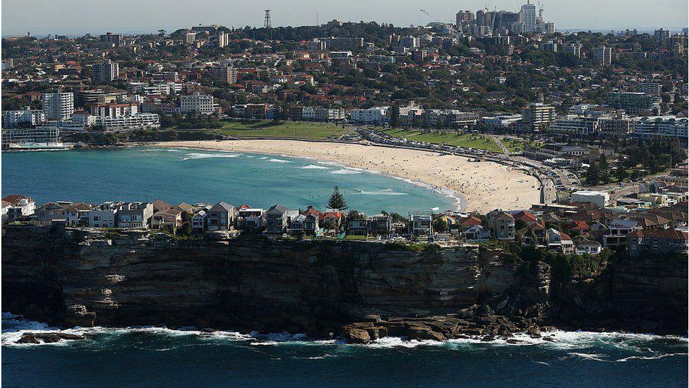 Aerial photo of Bondi Beach
