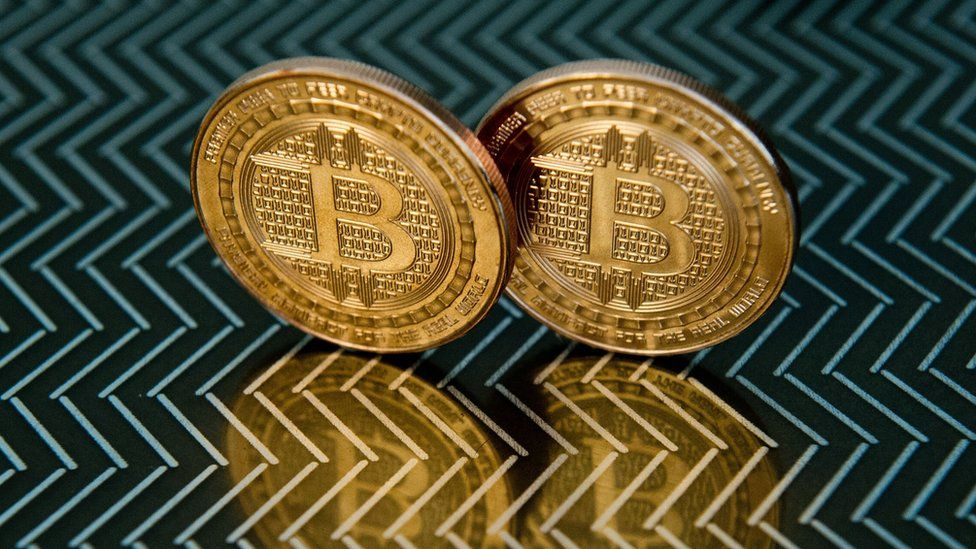 Bitcoins don't exist as a physical currency, but instead are traded digitally via the Internet