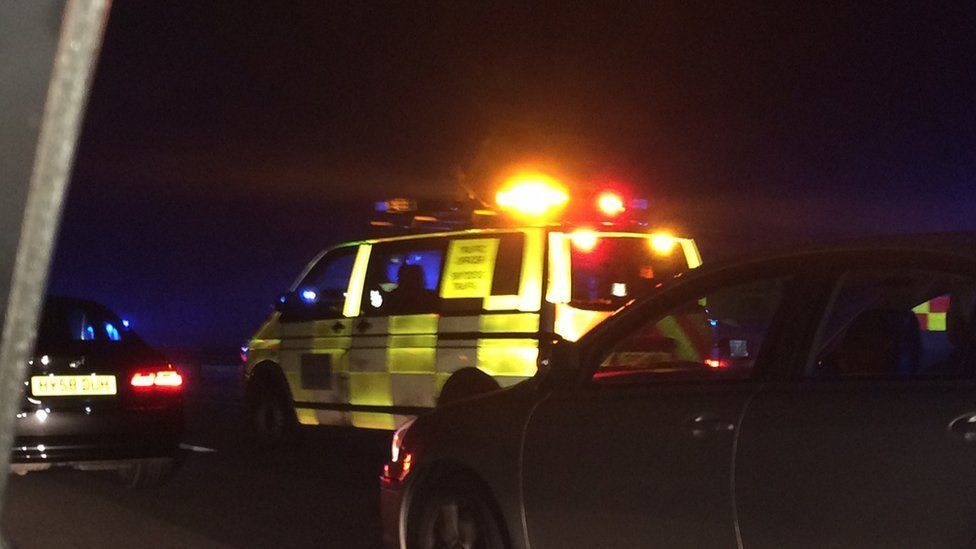 A traffic management vehicle on the M4