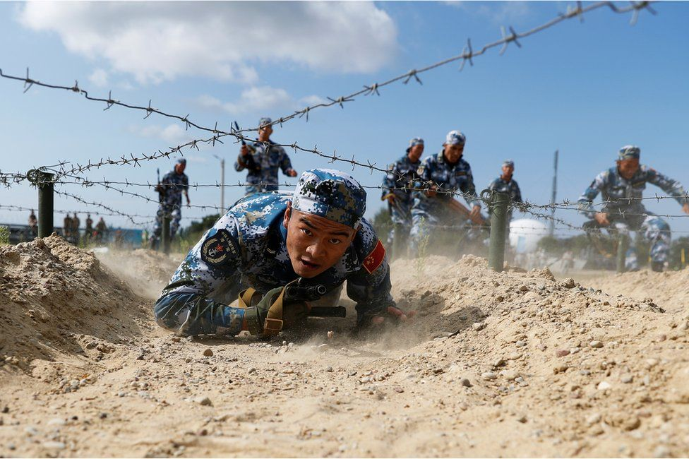 Marines from China take part in the International Army Games 2019 at the Khmelevka firing ground on the Baltic Sea coast in Kaliningrad Region, Russia August 8, 2019.