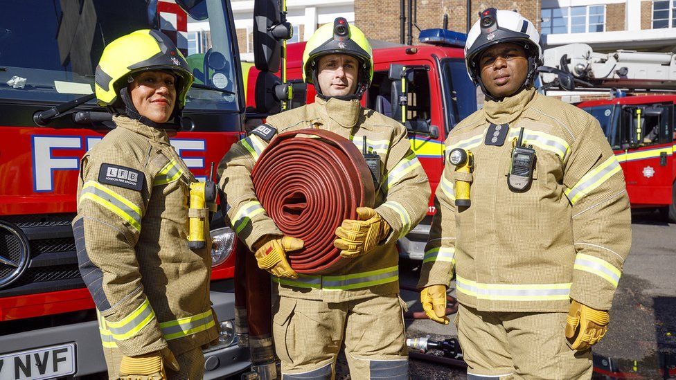 Firefighters in new gear