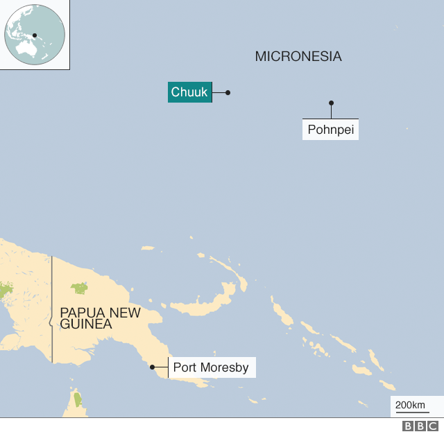 Map showing key locations in Micronesia and Papua New Guinea