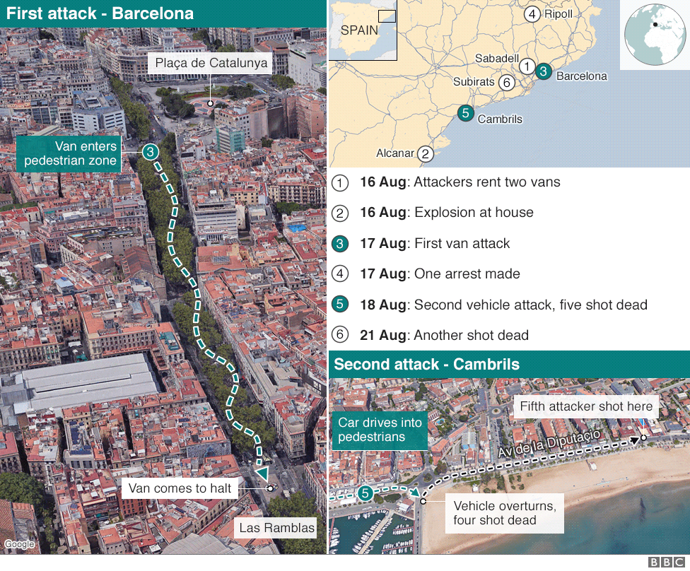 Map showing where the attacks took place
