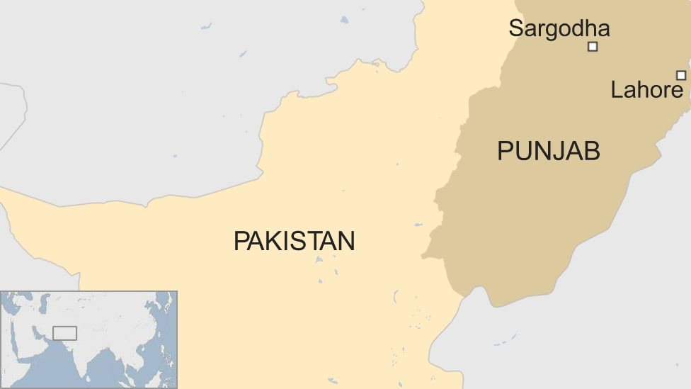 A map showing the location of Sargodha, a city in Pakistan's Punjab province