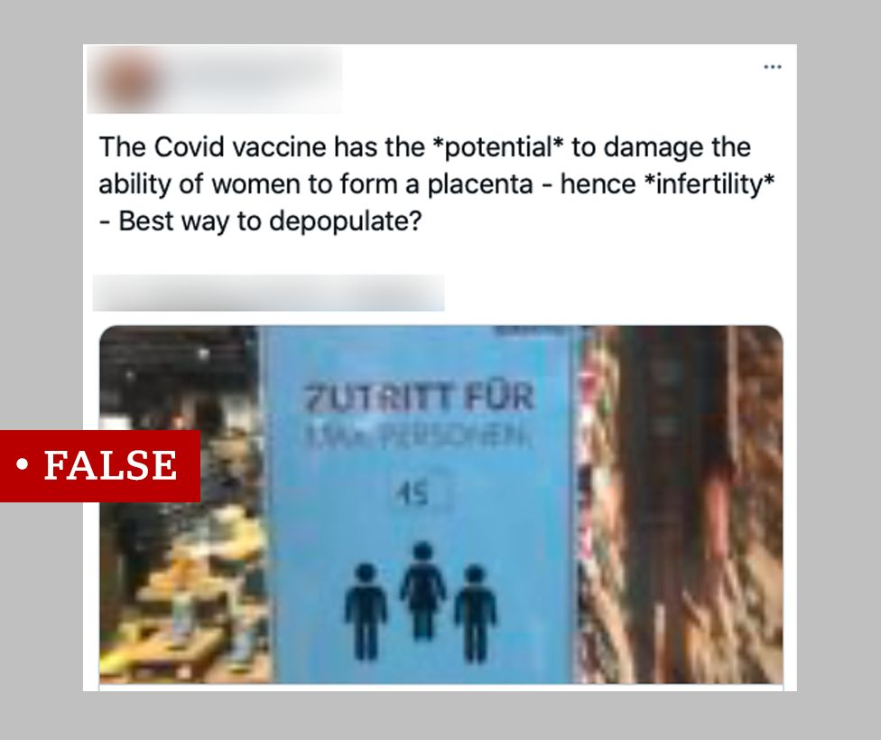Social media post claiming the vaccine could damage the placenta, labelled 'false'.