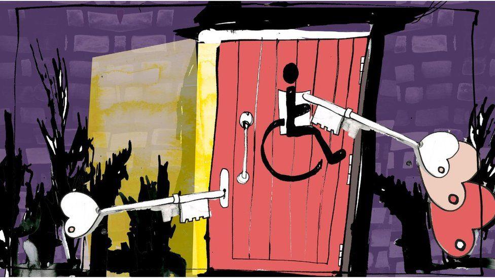 Illustration of radar keys being used to open doors