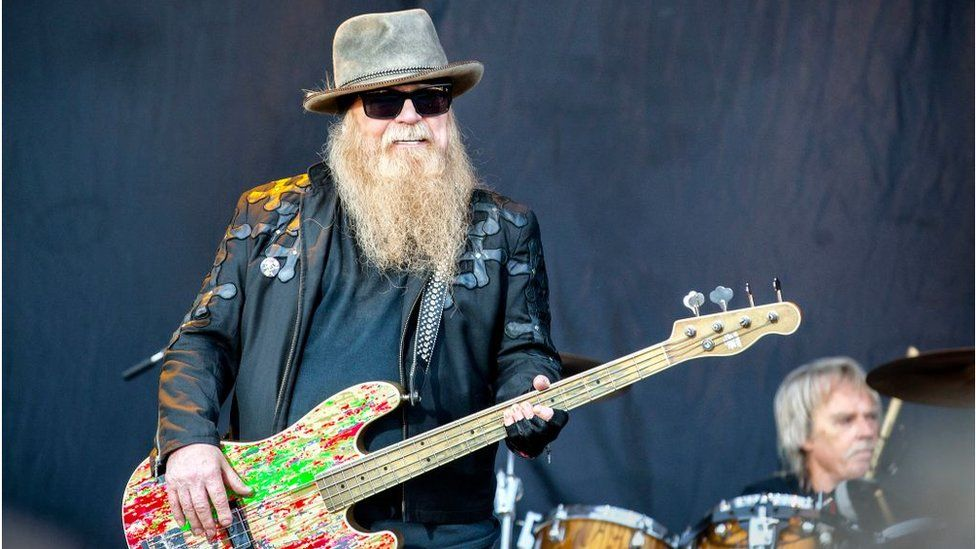 bass player Dusty Hill is seen live on stage in 2019