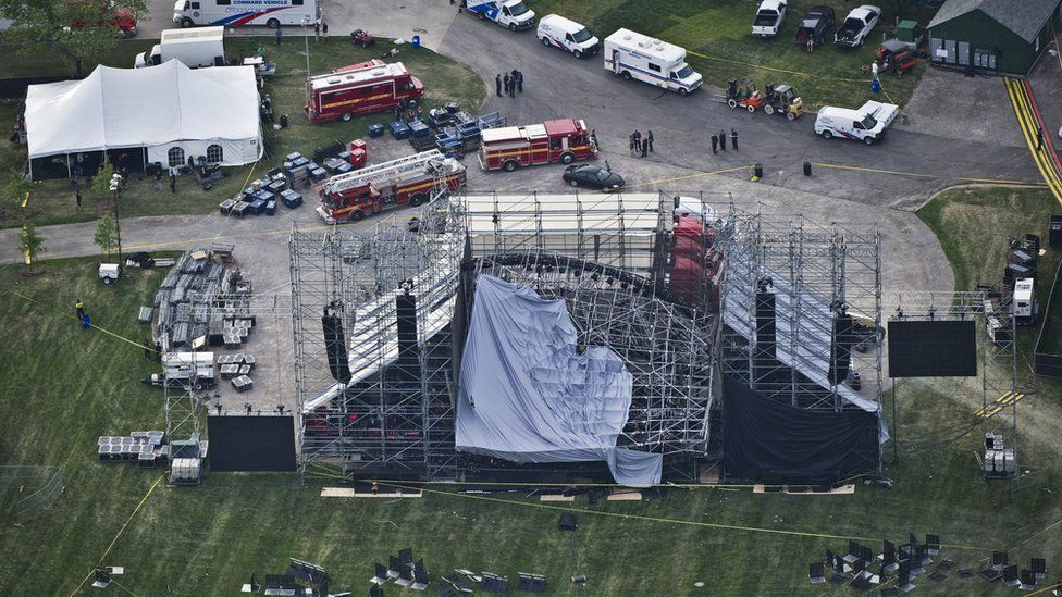 An aerial view shows a collapsed stage in Toronto's Downsview Park