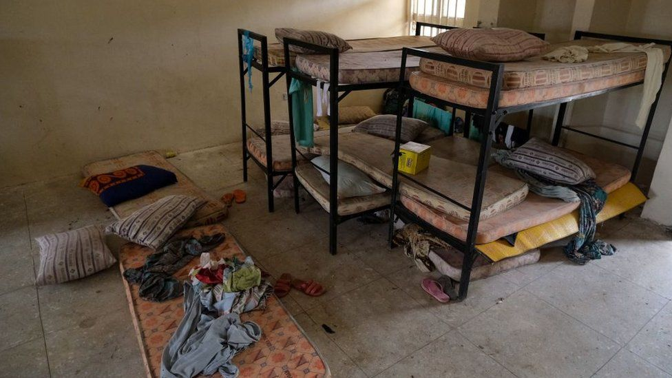 Bunk beds and mattresses in a dormitory at Government Girls Secondary School, Jangebe