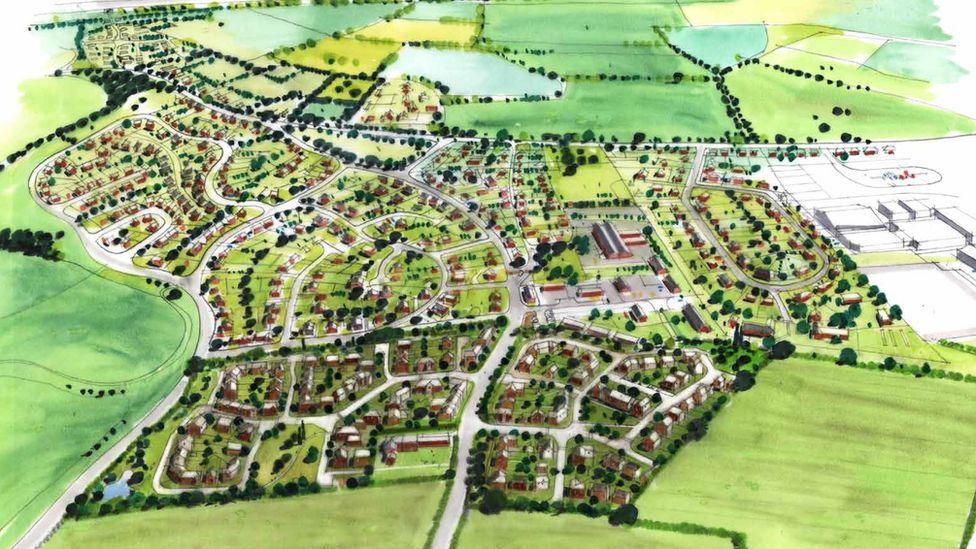 Artist impression of new housing in Rossett, near Wrexham