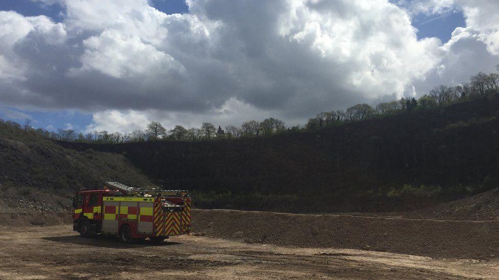 A fire engine at Wenvoe quarry