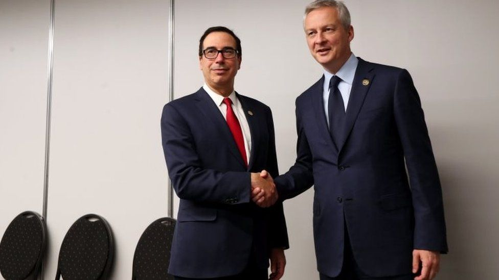Partners or foes? Steven Mnuchin (left) and Bruno Le Maire at the G20 meeting in Buenos Aires, Argentina. Photo: 21 July 2018