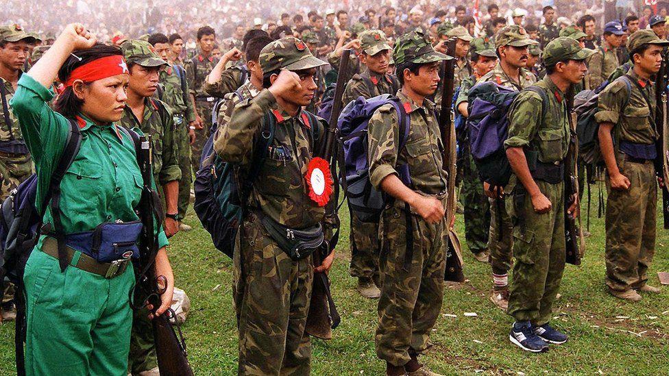 Maoist fighters in Nepal
