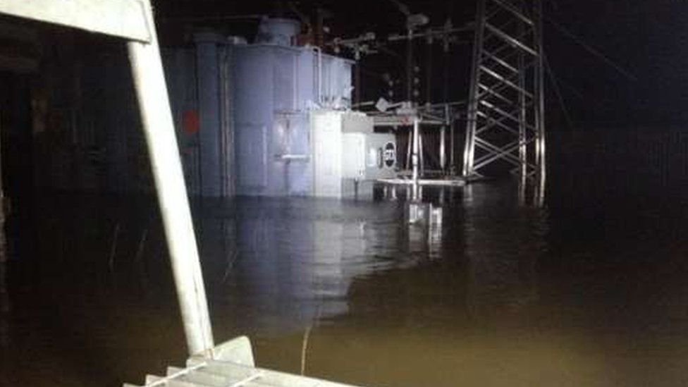 Flooded substation in Lancaster