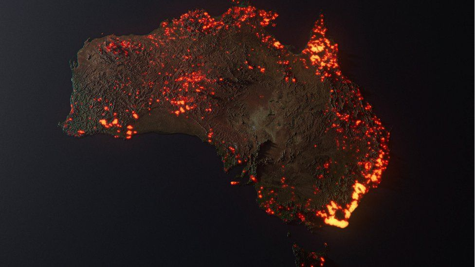 An artist's visualisation of one month of Australia fire data