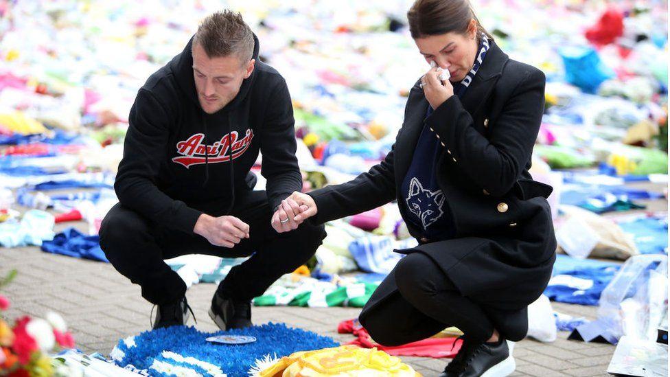 Jamie and Becky Vardy visit memorial