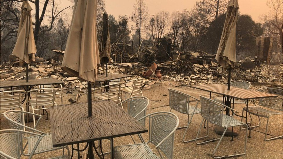 Burned out wreckage of restaurant