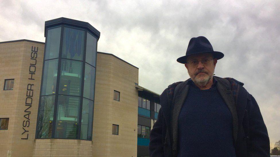 Newsnight's John Sweeney outside Catbrain Lane office