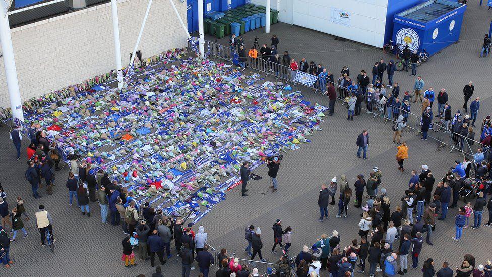 Tributes outside stadium