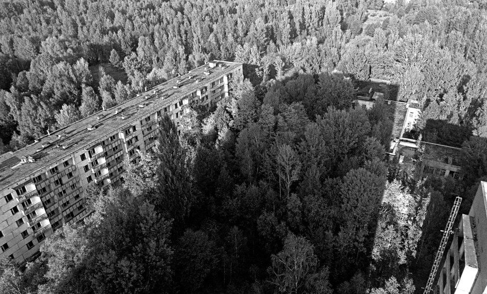The view from the 15th floor of a block of flats in Pripyat