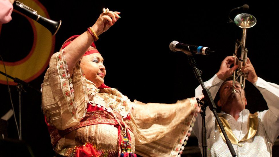 The Macedonian Esma Redzepova Band, typical Balkan music group, perform on stage at Womad Multicultural Festival in Spain in 2012