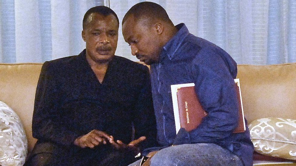 Congo-Brazzaville's President Denis Sassou-Nguesso and his son Denis-Christel