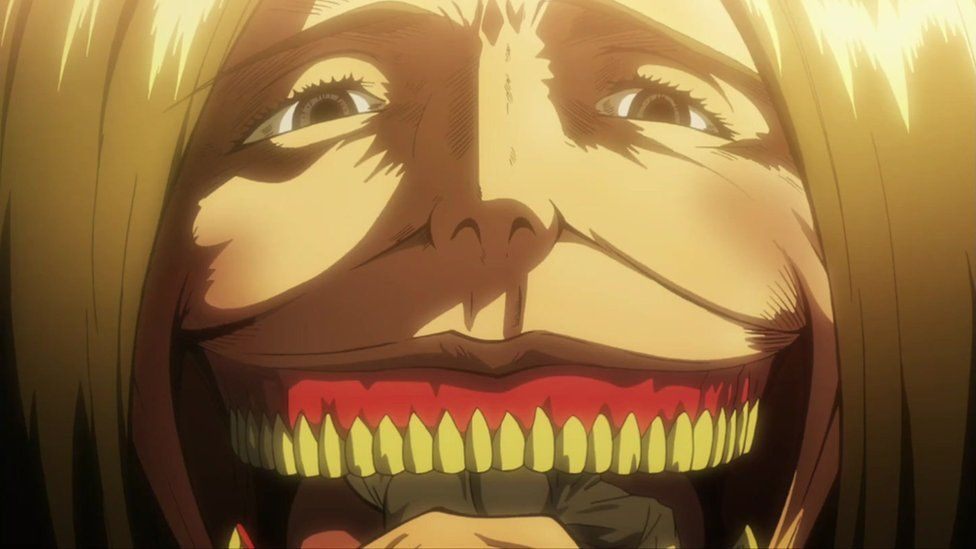 A still from the anime shows the Titan that ate Eren's mother