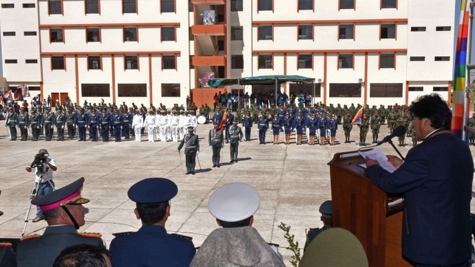 Evo Morales speaking at opening of new military academy 17 Aug 2016