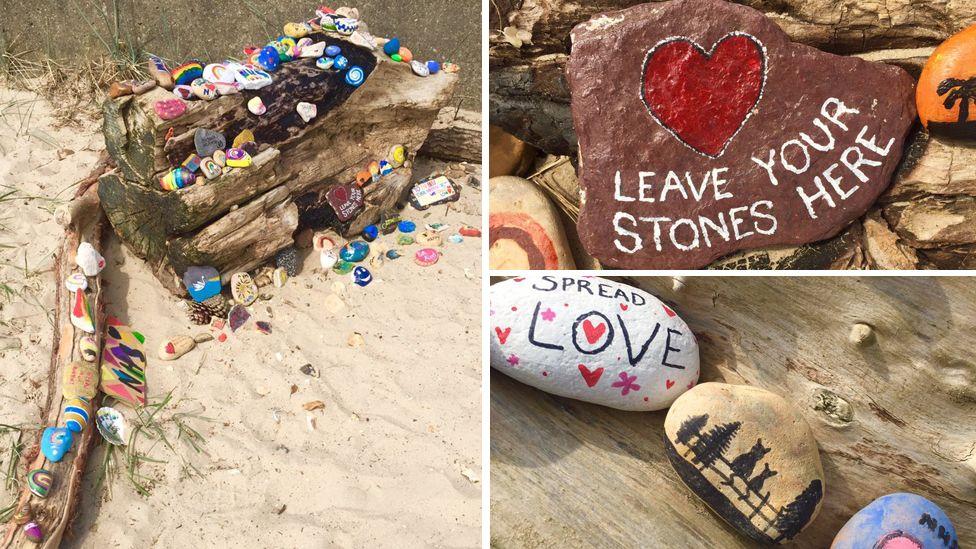 Painted pebbles at Avon Beach