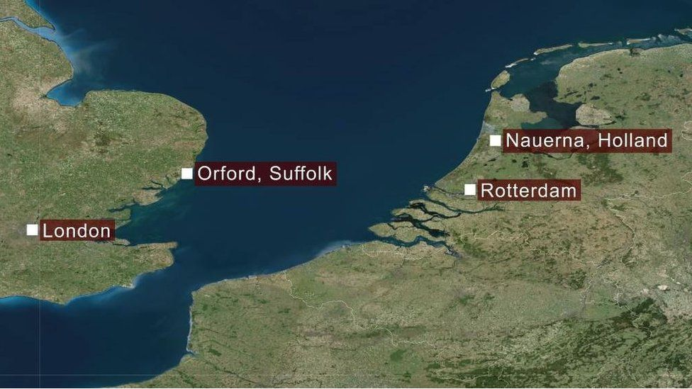 Map of Holland and Britain