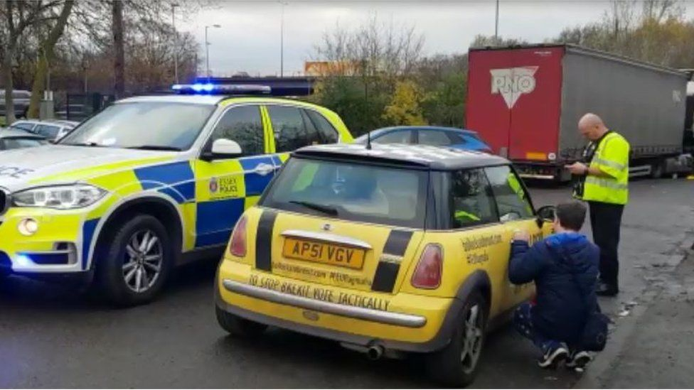 A car with an anti-brexit slogan was stopped by Essex Police.