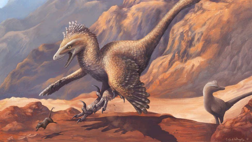 An illustration of a bird-like dinosaur with sharp claws pouncing on a small mouse