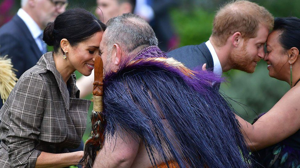 The Duke and Duchess of Sussex being given a traditional Maori welcome